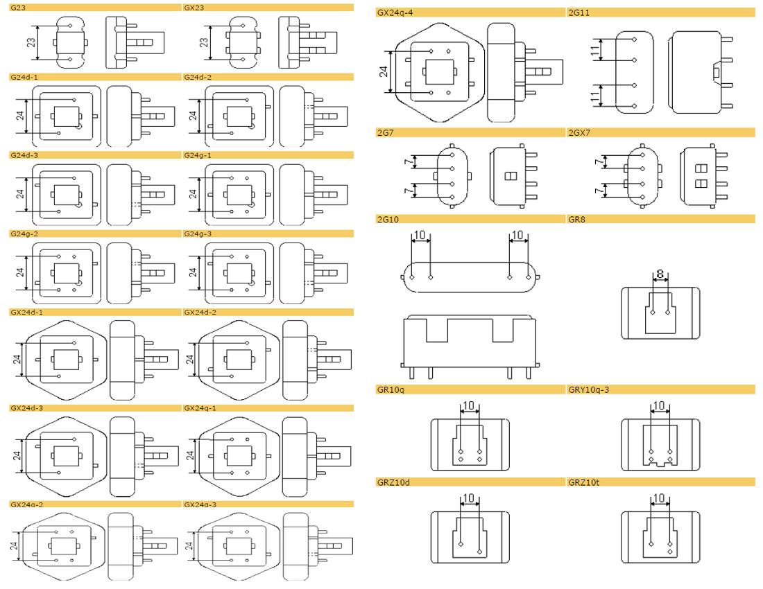 Fassungen Kompaktleuchtstoffröhren